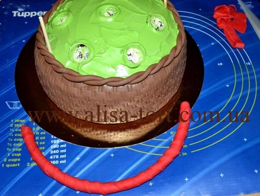 Делаем торт в виде корзинки с ручкой: Торты (украшения)